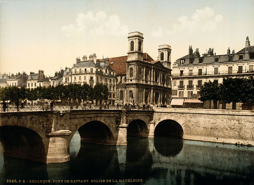8046 P.Z. Besançon, Pont de Battant, Eglise de la Madeleine . Photochrom print by Photoglob Zürich, between 1890 and 1900.  From the Photochrom Prints Collection at the Library of Congress More photochroms from France | More photochrom prints [PD] This picture is in the public domain