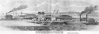 Roll-on/roll-off - Floating Railway, opened in 1850 as the first roll-on roll-off train ferry in the world