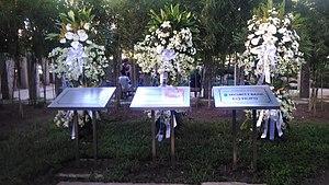 Washington SyCip - Flowers displayed at the Washington SyCip Park shortly after his death.