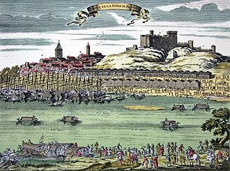 Beaucaire, Gard - Beaucaire Fair, coloured engraving from the 18th century.