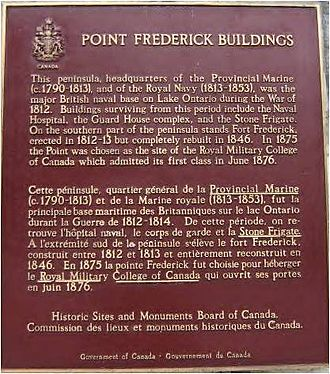 Point Frederick (Kingston, Ontario) - Point Frederick buildings plaque
