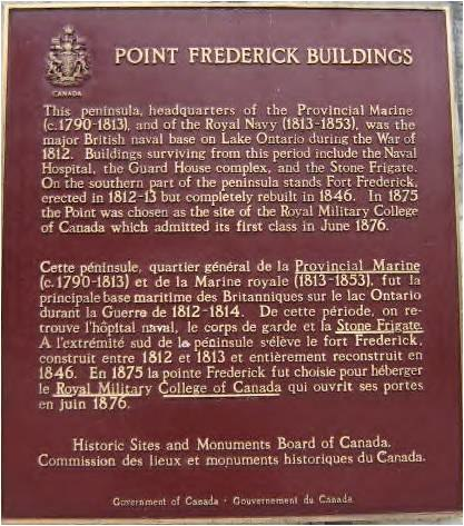 Fort Frederick plaque at Royal Military College of Canada