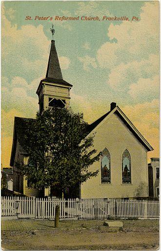 Frackville, Pennsylvania - St. Peter's Reformed Church on an old postcard.