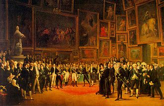 Lizinska de Mirbel - Charles X distributing awards to artists at the Salon of 1824. Mme de Mirbel is in the foreground, at the edge of the red carpet, facing the viewer.