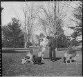 Franklin D. Roosevelt with four dogs in Hyde Park - NARA - 196935.tif