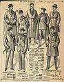 Fransk modeplansch. Män i kavajer, rockar och rökrock. Au Bon Marché, Paris - Nordiska Museet - NMA.0035398.jpg