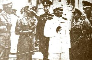 Free Thai Movement - From the front row left to right: Police General Adul Aduldejcheras, Ambassador Seni Pramoj and future Prime Minister Pridi Phanomyong