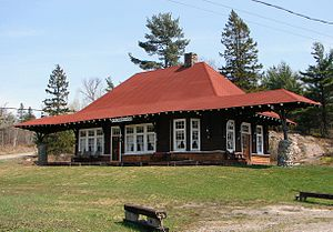 French River, Ontario - Historic train station from circa 1900 in French River Station.