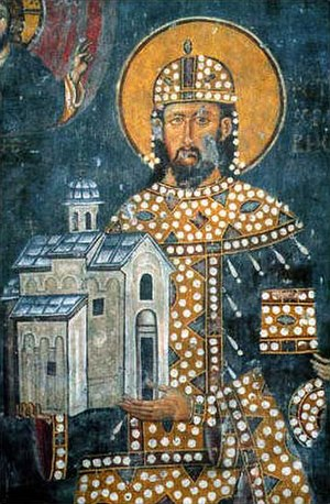Church of St. Achillius, Arilje - Founder fresco of King Stefan Dragutin, founder of the church, 1296. Note that he is depicted holding his endowment.