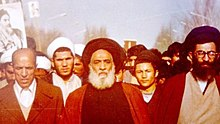 From left Taher Ahmadzade, Kazem Akhavan Mar'ashi, Ali Khamenei in 1979 revolution.jpg