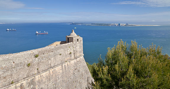 Corner of the fort of Saint Philip and the Peninsula of Troia in the background, Setubal, Portugal
