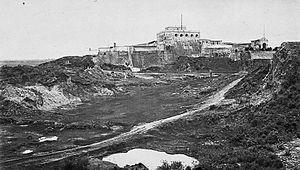 San José Castle (Guatemala City) - San José Castle in 1875. Photo by Eadweard Muybridge