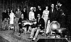 Dario Niccodemi - Theater Company Niccodemi, after the play Fuochi d'artificio. Left to right, Marini, Rissone, Vera Vergani, Luigi Chiarelli, Armani, Luigi Almirante, Puccini, Luigi Cimara, Brizzolari and Dario Niccodemi. Actors are still wearing costumes.