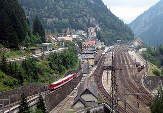 Göschenen - Göschenen railway station right above the entrance to the Gotthard Tunnel