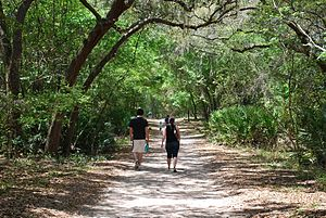 Guana Tolomato Matanzas National Estuarine Research Reserve - Family walking on one of GTM Research Reserve's trails