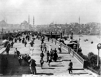 New Mosque (Istanbul) - A late 19th century photo of the Galata Bridge in Istanbul, with the Yeni Cami (New Mosque) seen in the background.