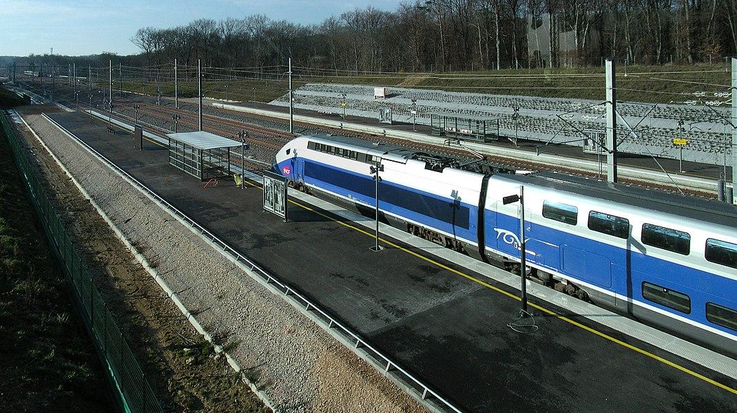 TGV Euroduplex (2N2) number 4703 train parked at the Besançon Franche-Comté TGV railway station during station's inaugural.