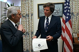Gary Hart - Hart (on the right) accepting his US Naval Reserve commission from Secretary of the Navy Edward Hidalgo, December 4, 1980