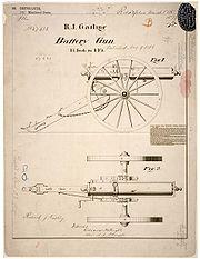 Patent drawing for R.J. Gatling's Battery Gun, 9 May 1865.