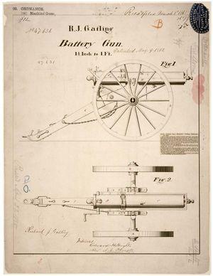 "Gatling gun - Patent drawing for R. J. Gatling's ""battery gun"", 9 May 1865"
