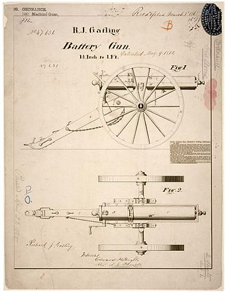 "Gatling gun - Patent drawing for R. J. Gatling's ""battery gun"", 9 May 1865"