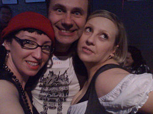 Irina Slutsky - Slutsky with Geek Entertainment co-founder Eddie Codel and occasional guest-host Violet Blue.