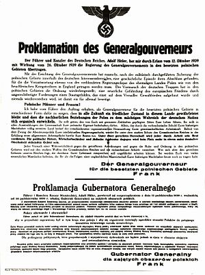 General Government - Official proclamation of the General-Government in Poland by Germany, October 1939