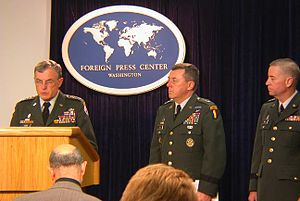 Fay Report - General Paul Kern receiving the report on the Abu Ghraib scandal from Generals George Fay and Anthony Jones