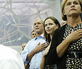 George W. Bush daughter Barbara sister Doro during National Anthem 2008 Olympics.jpg