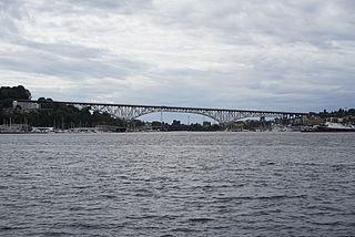 Aurora Bridge Highway bridge crossing the Lake Washington Ship Canal in Seattle, Washington