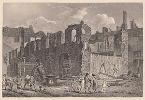 Gibbon's Tennis Court - Remains of Gibbon's Tennis Court, after a fire in 1809