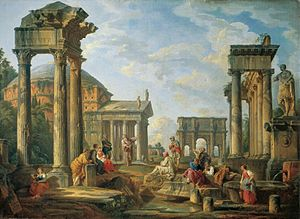 Cultural heritage - Roman ruins with a prophet, by Giovanni Pannini, 1751. The artistic cultural heritage of the Roman Empire served as a foundation for later Western culture, particularly via the Renaissance and Neoclassicism (as exemplified here).