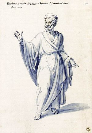 "Costume of the allegorical figure ""Rhetor..."