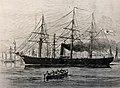 Glattdeckskorvette SMS Augusta, 1864 auf der Reede von Bremerhaven, zeitgenössischer Holzschnitt.jpg