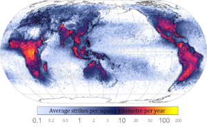 Distribution of lightning - Image: Global lightning strikes