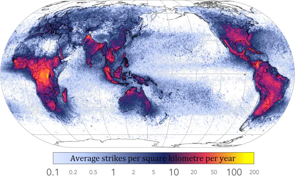 Global lightning strikes