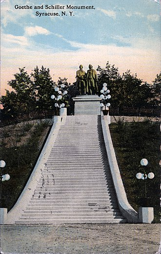 Goethe–Schiller Monument (Syracuse) - 1913 postcard of the Goethe–Schiller Monument in Syracuse
