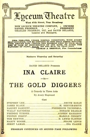 The Gold Diggers (1919 play) - Broadway program