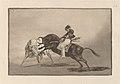 Goya - El mismo Ceballos montado sobre otro toro quiebra rejones en la plaza de Madrid.jpg