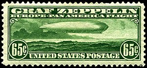"Zeppelin mail - US 65-cent ""Zeppelin"" stamp, one of three values issued specially for the May–June 1930 Pan-American flight of the Graf Zeppelin."