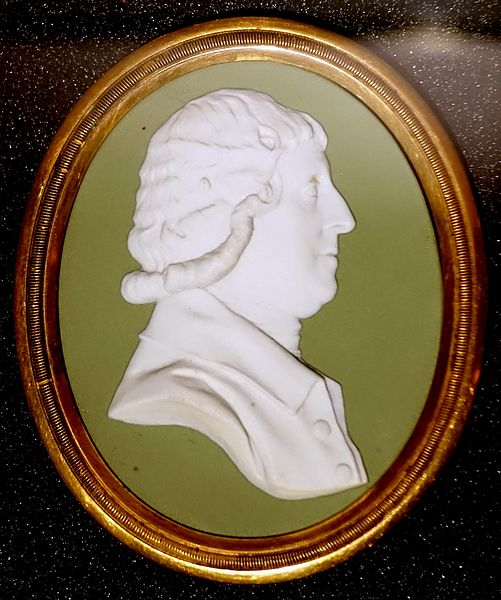 File:Granville Leveson-Gower, Marquis of Stafford, modeling attributed to William Hackwood, c. 1782, green jasper, white relief - Wedgwood Museum - Barlaston, Stoke-on-Trent, England - DSC09560.jpg