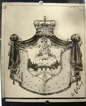 Coat of arms of Skopje - Coat of arms of Skopje from the time when Skopje was under the administration of the Kingdom of Yugoslavia.