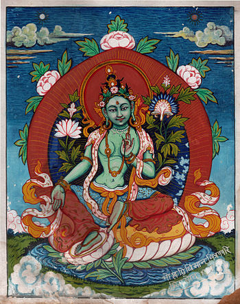 English: Painting of Buddhist goddess Green Ta...