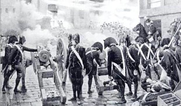 Pro-Convention gunners firing on the Royalist mob Gribeauval guns of Bonaparte in the Paris insurrection 5 october 1795.jpg
