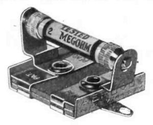 Grid-leak detector - A grid leak resistor and capacitor unit from 1926. The 2 megohm cartridge resistor is replaceable so the user can try different values.  The parallel capacitor is built into the holder.