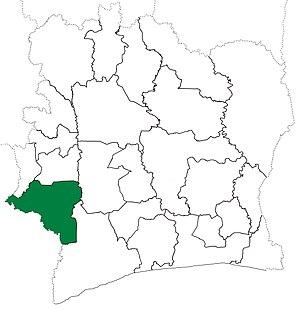 Guiglo Department - Image: Guiglo Department locator map Côte d'Ivoire (1969 74)