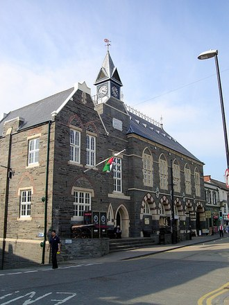 Cardigan, Ceredigion - The Guildhall, built in a Gothic design, opened in 1860