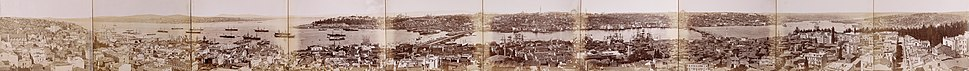 Πανοραμική θέα της Κωνσταντινούπολης και των περιοχών της, φωτογραφία του 1880 σε υψηλή ανάλυση