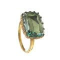 Guldring trappstensslipad grön sten. Från 1600-talet - Livrustkammaren - 97897.tif