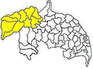 Gurazala revenue division - Mandals in Gurazala revenue division (in yellow) of Guntur district